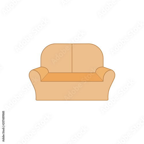 Two Seater Sofa Flat Icon Interior Or Room Design Template In Flat