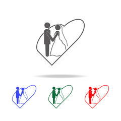 the bride and groom in the heart icons. Elements of wedding in multi colored icons. Premium quality graphic design icon. Simple icon for websites, web design, mobile app