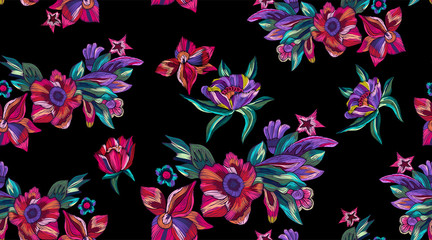 Embroidery seamless pattern with modern bright flowers. Vector embroidered floral patch for clothing design.