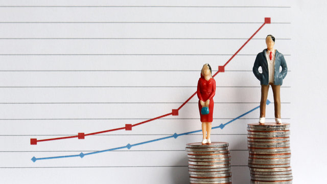 Miniature people standing on a pile of coins in front of a graph. The concepts of continuing gender inequality.