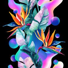 Poster de jardin Empreintes Graphiques Abstract soft gradient blur, colorful fluid and geometric shapes, watercolor palm drawing.