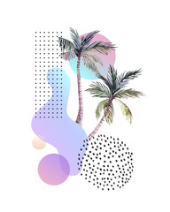 Printed kitchen splashbacks Graphic Prints Abstract soft gradient blur, colorful fluid and geometric shapes, watercolor palm drawing.