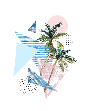 Triangle, circle, watercolor palm tree, marble, grunge textures
