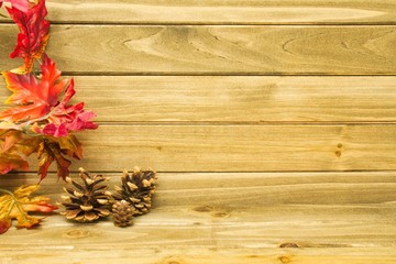 Three small pine cones and autumn leaves with a wood background providing copy space