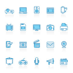 Line with blue background modern multimedia icons  - vector icon set