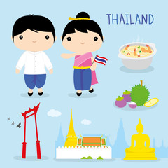 Thailand Tradition Food Place Travel Asia Mascot Boy and Girl Cartoon Vector