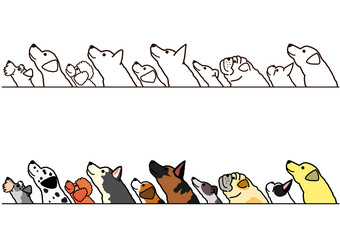 dogs looking up profile border set