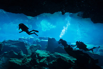 Underwater cave in Chak Mool Cenote Wall mural