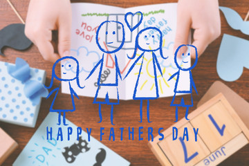 Father's day greeting card with child's drawing