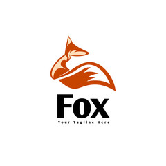 Elegant sit down fox logo