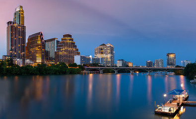 Fototapete - Austin Skyline in the evening