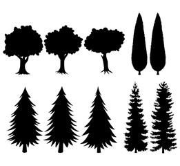 Set of black silhouettes trees