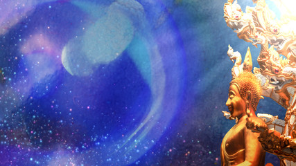 Golden buddha statue cover with naga having light ray on abstract blue background