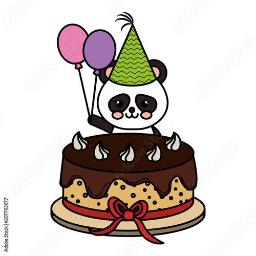Cute Bear Panda With Sweet Cake Kawaii Character Vector Illustration