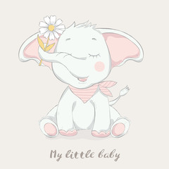 cute baby elephant with flower cartoon  for t-shirt, print, product, flyer ,patch, fabric, textile,tile,card, greeting  fashion,baby, kid, shower, powder,soap, hand drawn style. vector illustration