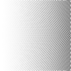 Halftone of radial gradient with black dots. Dotted halftone digital background isolated on white. Vector pattern, template of texture. Template for print design.