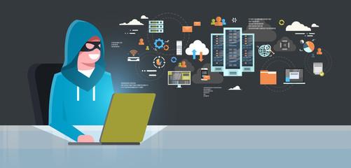 Man Black Mask Sitting At Computer Hacker Activity Concept Viruses Data Privacy Attack Internet Information Security Flat Vector illustration