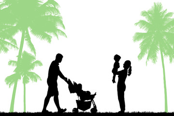 silhouette  happy family   fun playing in the park on white background.