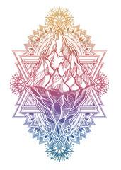 Hand drawn beautiful iceberg, sky in geometric ornate frame. Glacier design.
