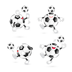 Set of cute cartoon soccer ball. Mascot character, sport concept. Illustration isolated on white background.