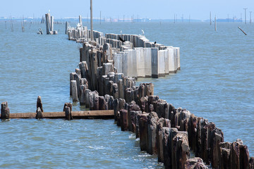 Concrete barrier in sea level rise in gulf of thailand