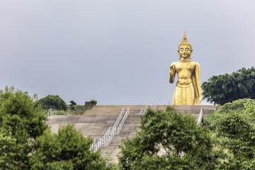 Phra Buddha Mongkol Maharaj tallest Golden Standing Buddha at Hat Yai Municipal Park, Hat Yai Thailand