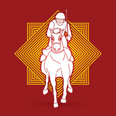 Horse racing ,Horse with jockey designed on line square background graphic vector.