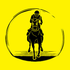 Horse racing ,Horse with jockey, graphic vector.