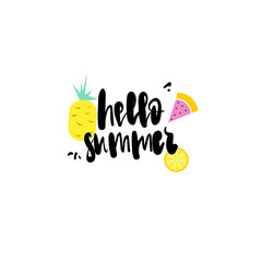 hello summer badge Isolated Typographic Design Label. Season Holidays lettering for logo,Templates, invitation, greeting card, prints and posters.