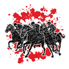 Horse racing ,Horse with jockey designed on splatter ink graphic vector.