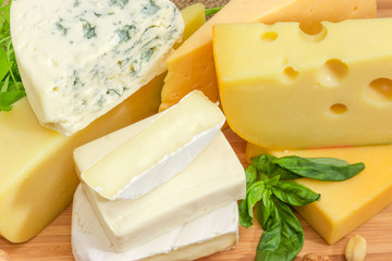 Pile of pieces of different cheese closeup at selective focus