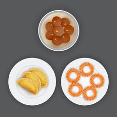 Indian traditional desserts like Shahi Gulab Jamun, Gujhiya, and Imarti or Jalebi on grey background.