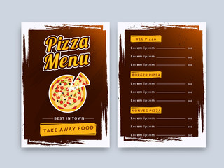 Pizza food menu for restaurant and cafe.