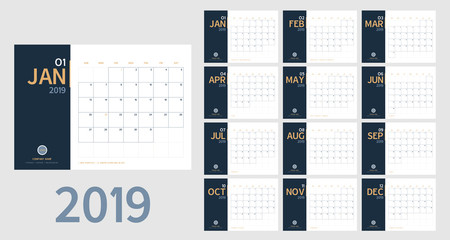 Vector of 2019 new year calendar in clean minimal table simple style and blue and orange yellow color,Holiday event planner,Week Starts Sunday.include holiday event.A5 size.