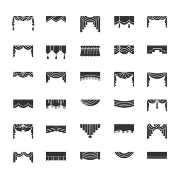 Scarves & valances. Window top treatments. Different styles of draperies and blinds. Swag, fan, straight, scalloped, pleat pelmets. Vector flat icons. Isolated objects on white background.