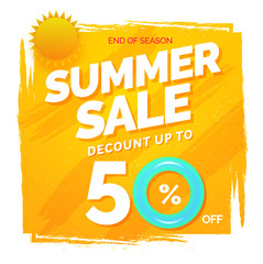 Hot summer sale flyer, poster or banner design with stylish text and 50% off offers, yellow background.