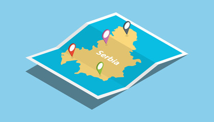 serbia explore maps country nation with isometric style and pin location tag on top