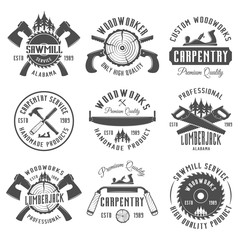 Carpentry and woodworkers vector vintage emblems