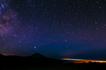night, starry sky in the Teide volcano national park in Tenerife, visible milk path