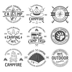 Camping and outdoor adventure vector black emblems