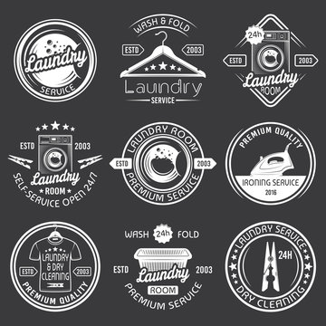 Laundry, cleaning service vector white emblems