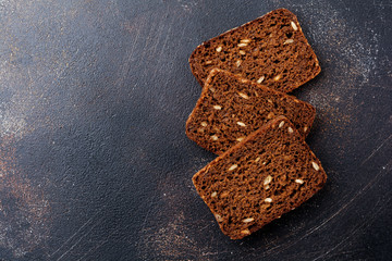 pieces of rye bread for sandwiches on the stand. Top view.