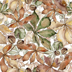 Autumn chestnut leaves. Leaf plant botanical garden floral foliage. Seamless background pattern. Aquarelle leaf for background, texture, wrapper pattern, frame or border.