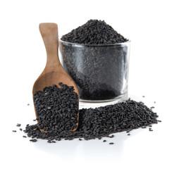 Black sesame on white background