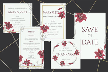 Set of wedding cards with wine lilies