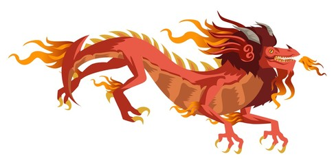 red chinese asian flying dragon