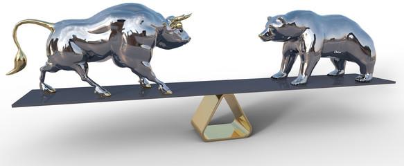 bull and bear stock market scale symbols