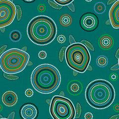 Australian Aboriginal Art. Point drawing. Sea turtles. Seamless pattern. Background green blue blur