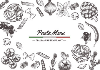 Italian pasta frame . Hand drawn vector illustration of an Italian pasta on a blackboard, sketch . Classic italian cuisine.