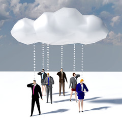 Business people data cloud communication